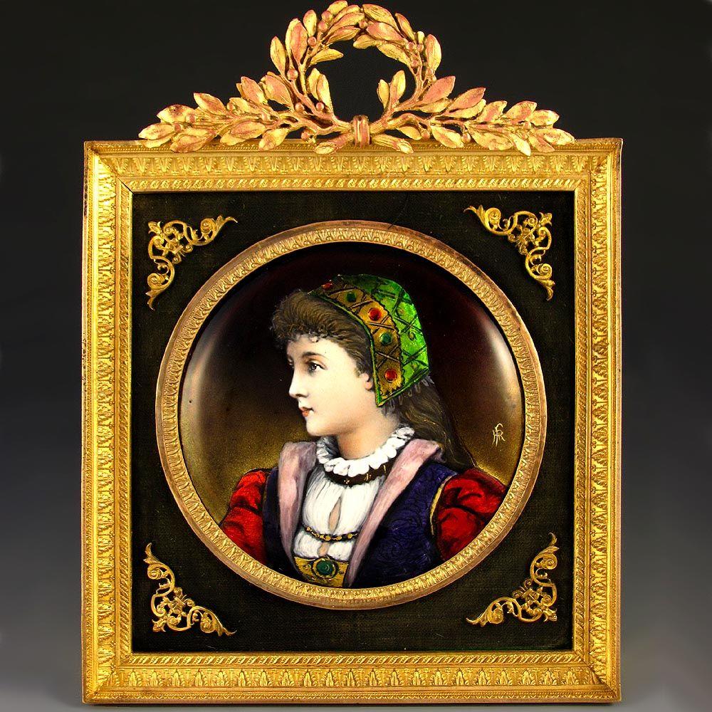 Antique French Limoges Enamel on Copper Miniature Portrait Plaque, Gilt Bronze Frame