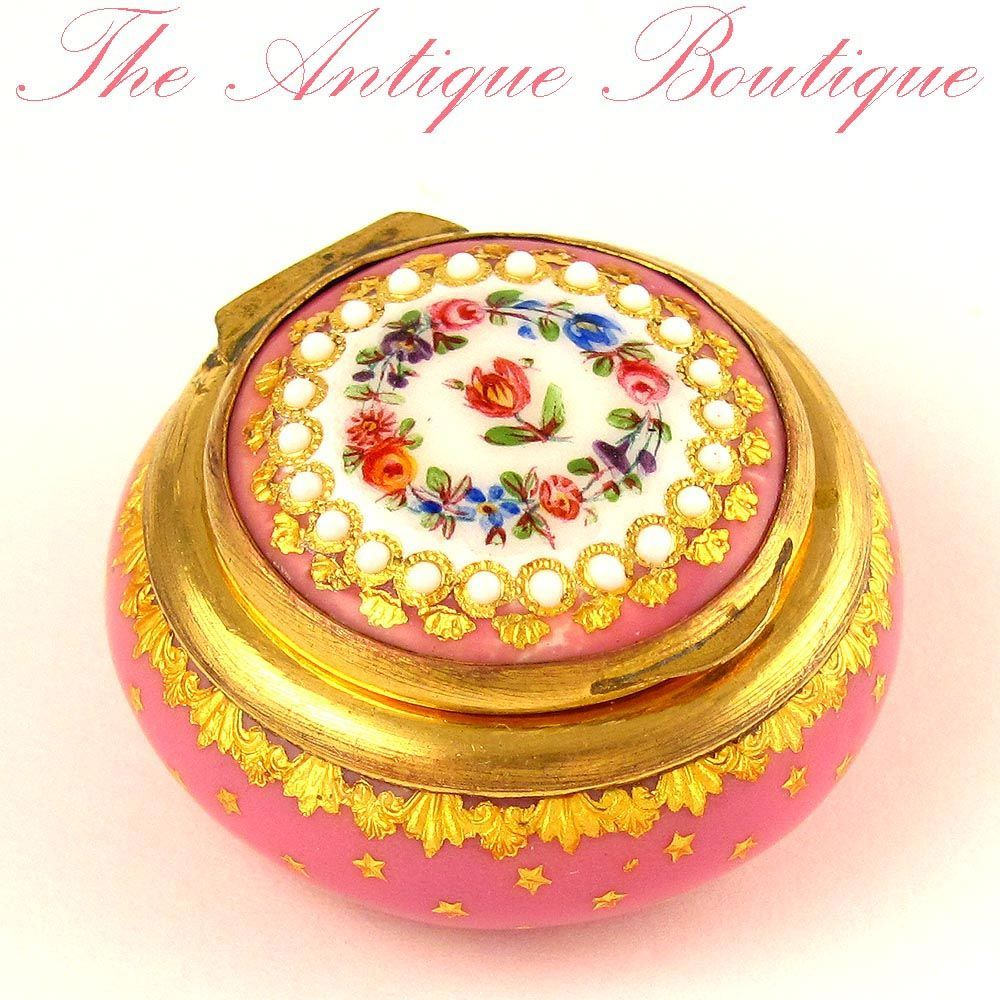Antique French Pink Enamel & Gilt Ormolu Jeweled Patch Box