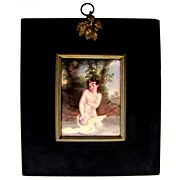 Victorian Enamel on Copper Miniature Portrait, Nude Leda & the Swan