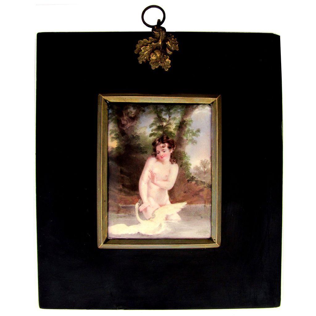Victorian Nude Leda & the Swan Miniature Portrait Enamel on Copper Plaque Papier Mache Frame