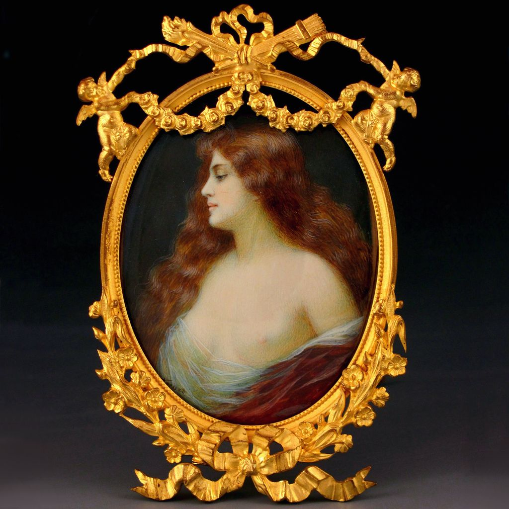 Antique Art Nouveau Hand Painted Semi-Nude Miniature Portrait Signed, Figural Cherubs Gilt Bronze Frame