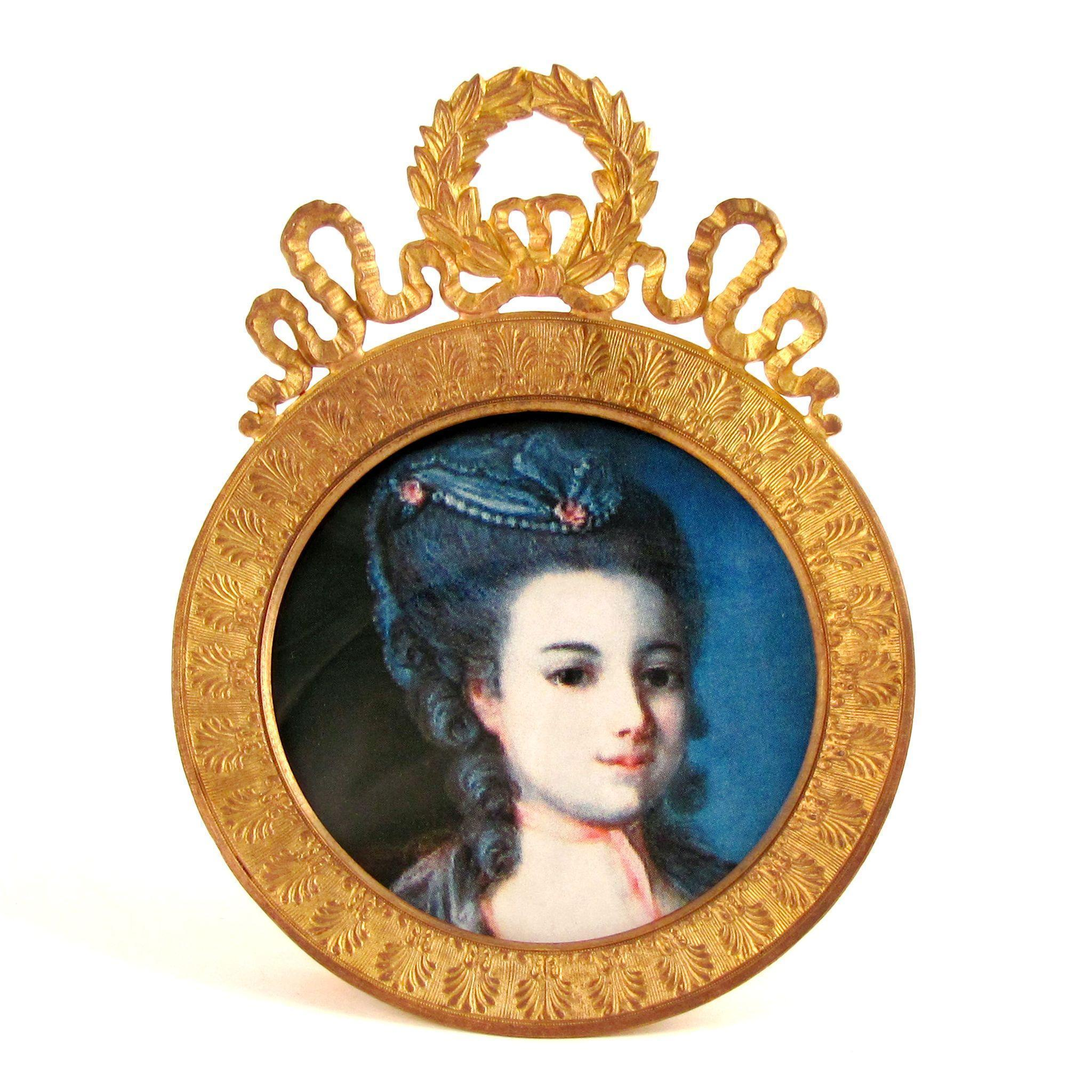Antique French Napoleon III Gilt Bronze Round Picture / Portrait Frame