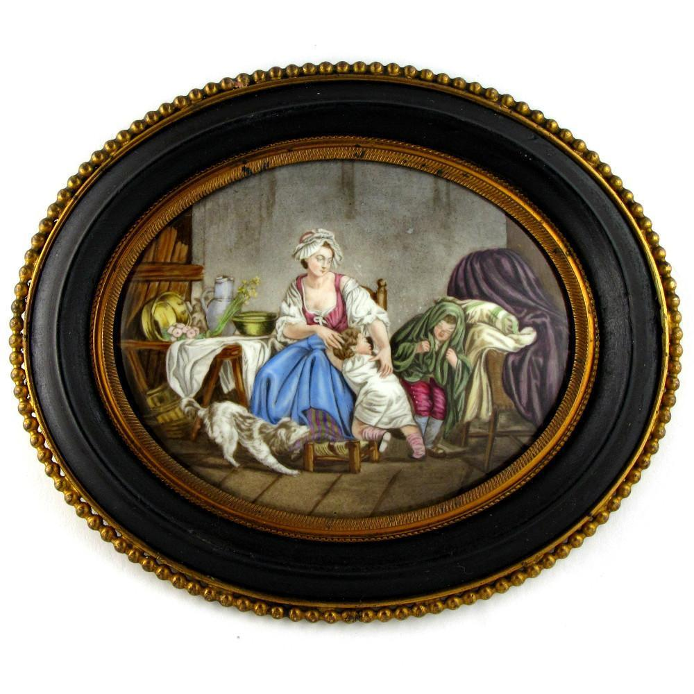 Antique French Limoges Enamel on Copper Miniature Portrait Plaque, Mother & Children, Dog