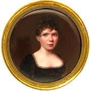 Antique 19thc Kiln-Fired Enamel Miniature Portrait Painting, Lady in a Black Dress