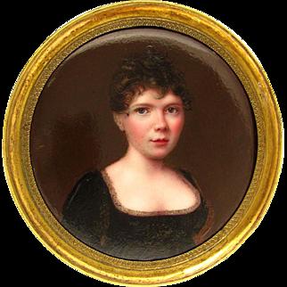 Antique 19thc Kiln-Fired Enamel Miniature Portrait Painting, Lady in a Black Dress