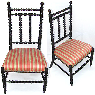 Antique French Napoleon III Doll Size Child's Chair with Ebonized Spindles
