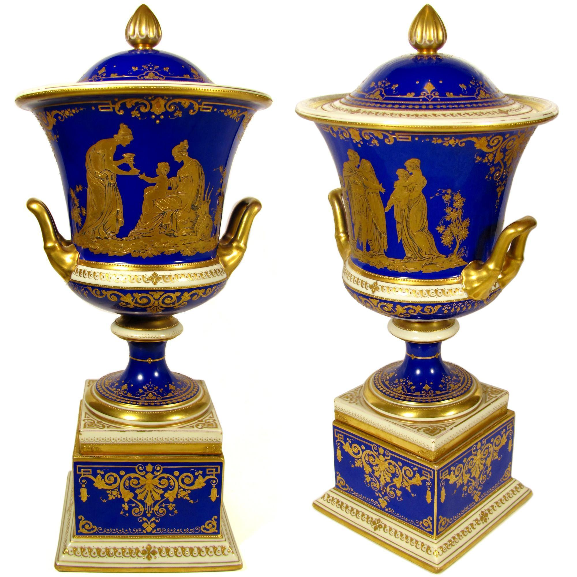 Large Antique A. Lamm Dresden German Porcelain Cobalt Blue Hand Painted Raised Gold Lidded Urn