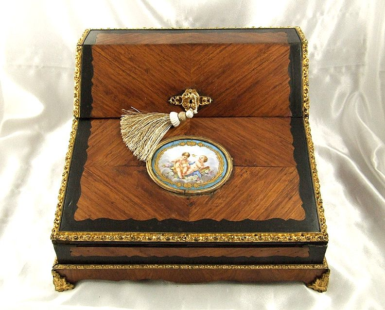 Roll over Large image to magnify, click Large image to zoom - Antique French TAHAN Lap Desk Gilt Bronze & Hand Painted Porcelain