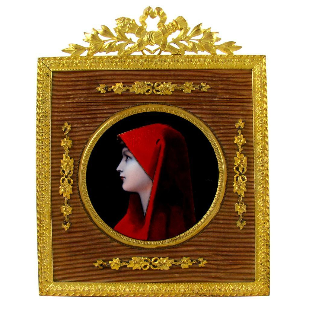 Stunning French Limoges Enamel on Copper Miniature Portrait, Gilt Dore Bronze Frame