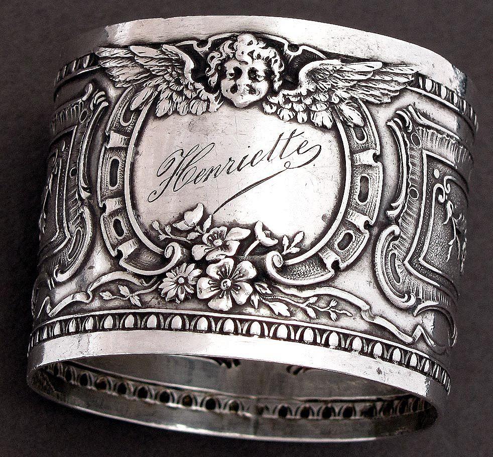 Antique French Sterling Silver Napkin Ring, Cherub Motif
