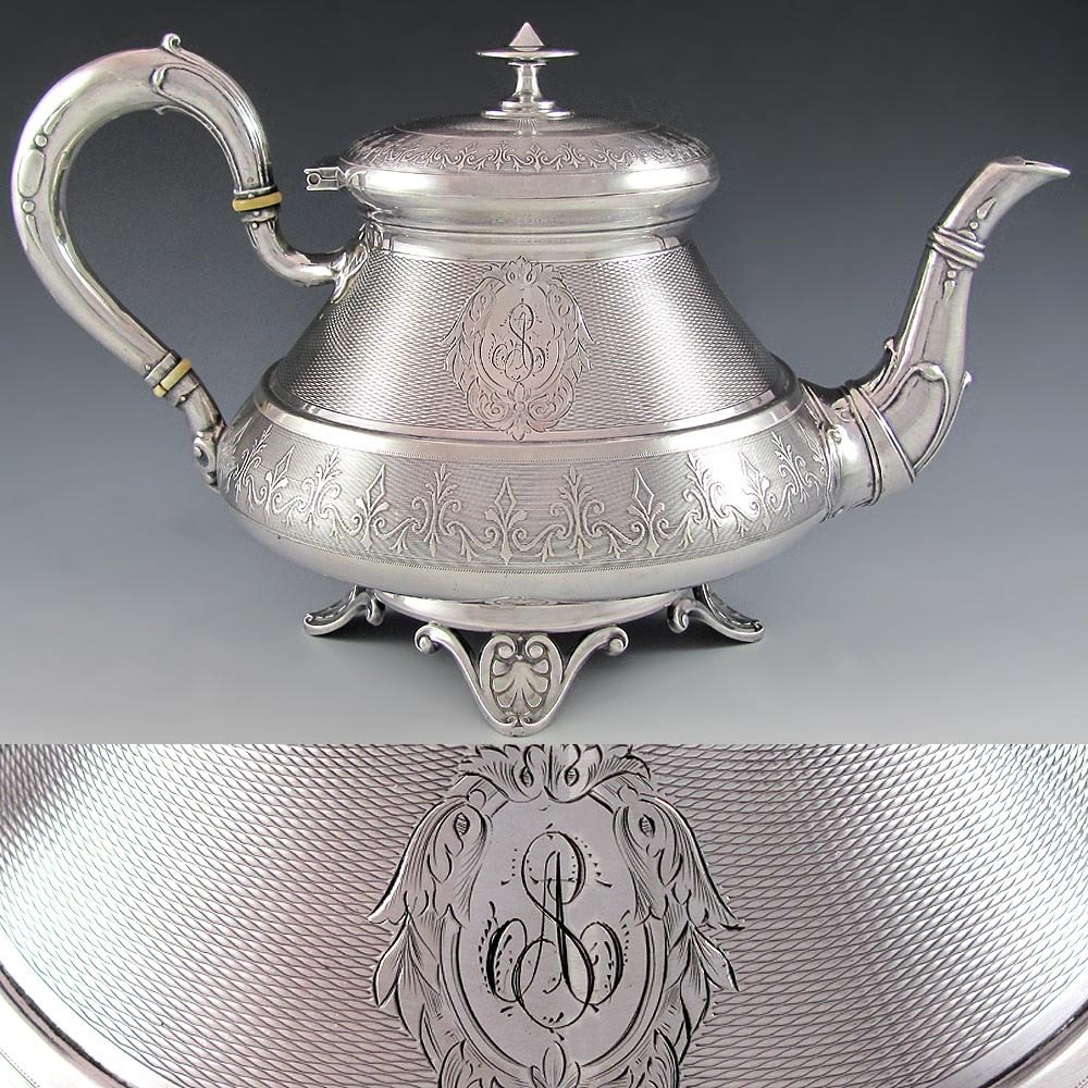 Ornate Large Antique French Sterling Silver Tea Pot