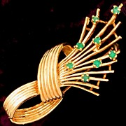 Vintage 14k Gold & Natural Emeralds Brooch