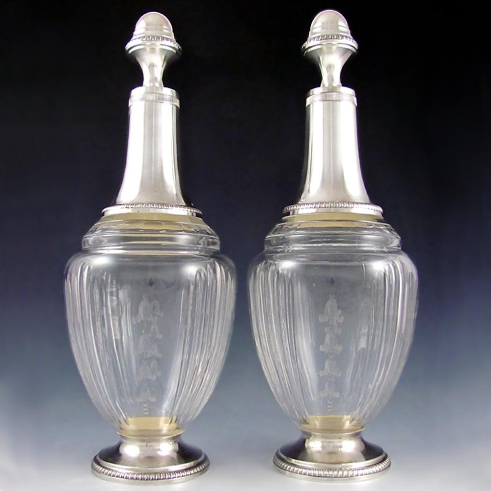 "12"" Tall Pair of Antique French Sterling Silver & Cut Crystal Liquor / Wine Decanters, Carafes"