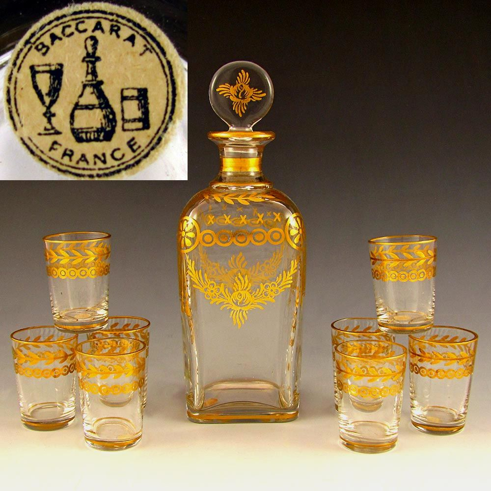 Antique French Baccarat Gilt Crystal Liquor Set, Decanter & Shot Glasses