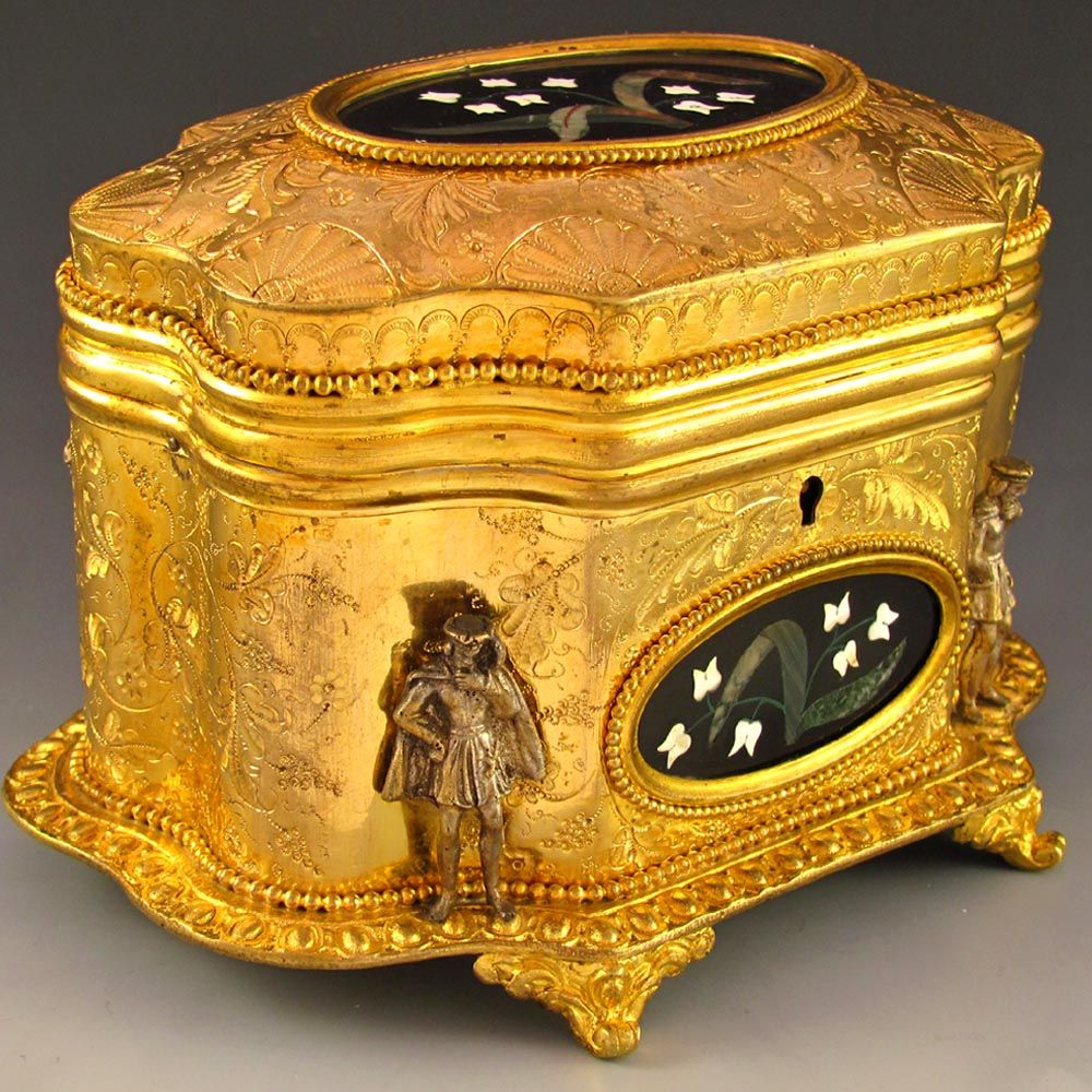 Antique french signed giroux pietra dura gilt bronze for Vintage antique jewelry box