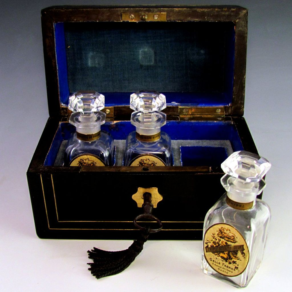 Antique French  Ebonized & Inlaid Wooded Scent Caddy Casket Baccarat & Gelle Freres Labeled Perfume Bottles