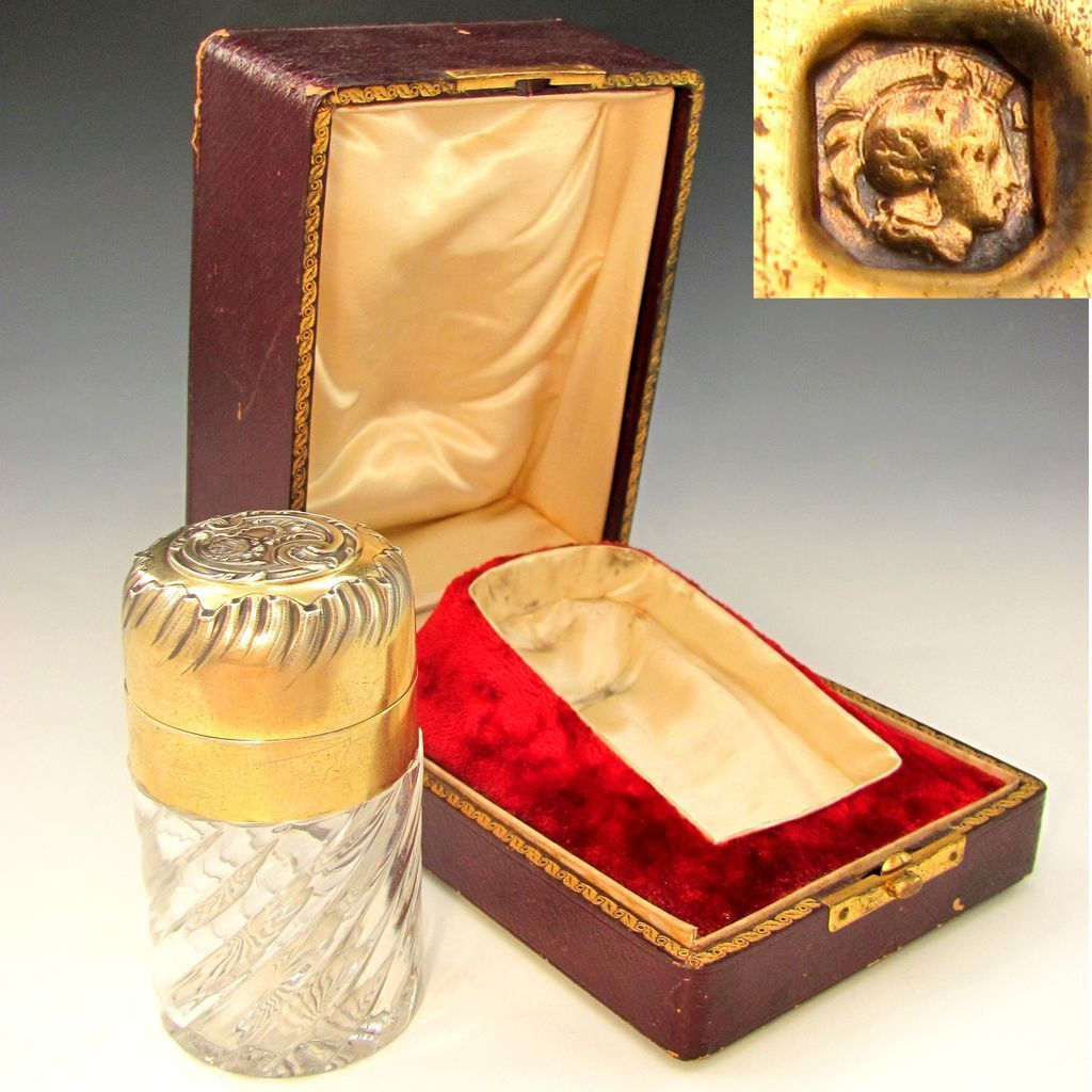 Antique 19thc French Sterling Silver Gilt Vermeil Baccarat Crystal Swirled Perfume / Smelling Salts Bottle, Presentation Box
