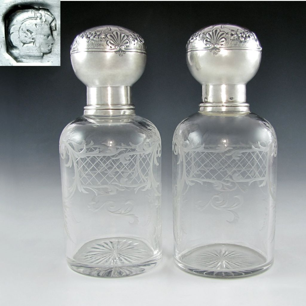 Pair Antique 19c French Sterling Silver Repousse Baccarat Engraved Crystal Perfume / Cologne Bottles