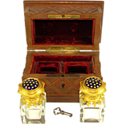Antique French Carved Wood Perfume Casket, Box, Enamel Ormolu Crystal Scent Bottles