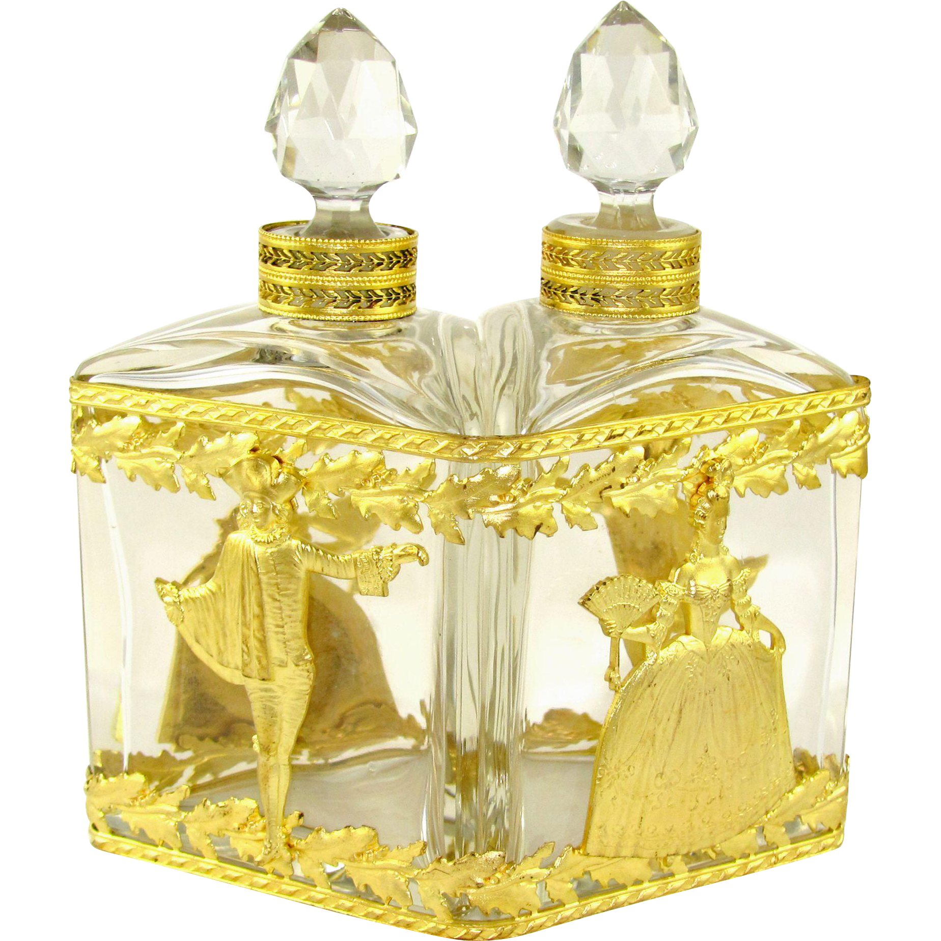 Antique French Gilt Bronze Double Scent Caddy Cut Crystal Perfume Bottles