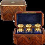 Antique French Napoleon III Kingwood Scent Casket Box Hinged Ormolu & Crystal Perfume Bottles, Lock & Key
