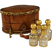 Antique French Perfume Casket, Gilt Bronze Kingwood Inlaid Box, Four Crystal Scent Bottles