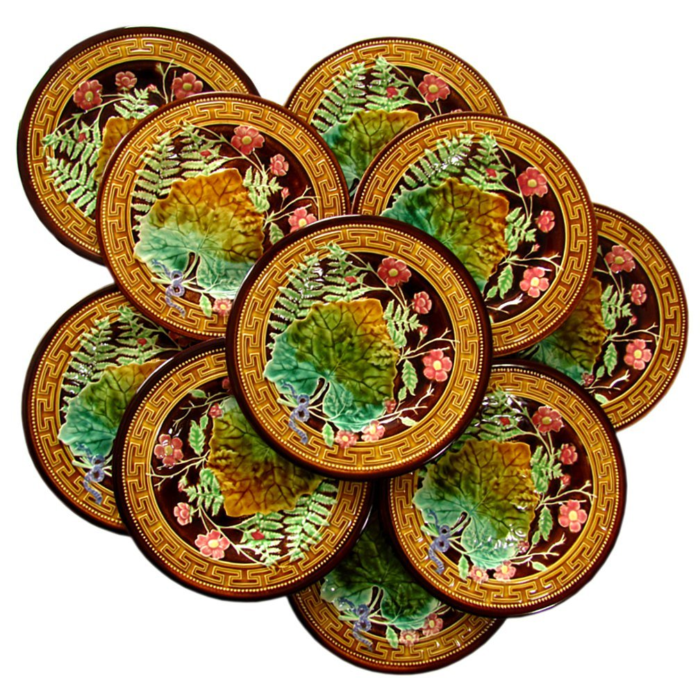 10 Antique French Majolica Faience Pottery Plates By Boulenger From Theantiqueboutique On Ruby