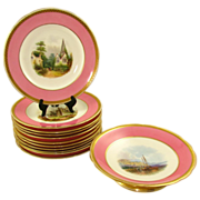 Antique 19c Minton English Porcelain Pink & Gold Encrusted Hand Painted Plates & Compote