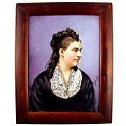 Antique 19thc Hand Painted Porcelain Portrait Plaque, Signed