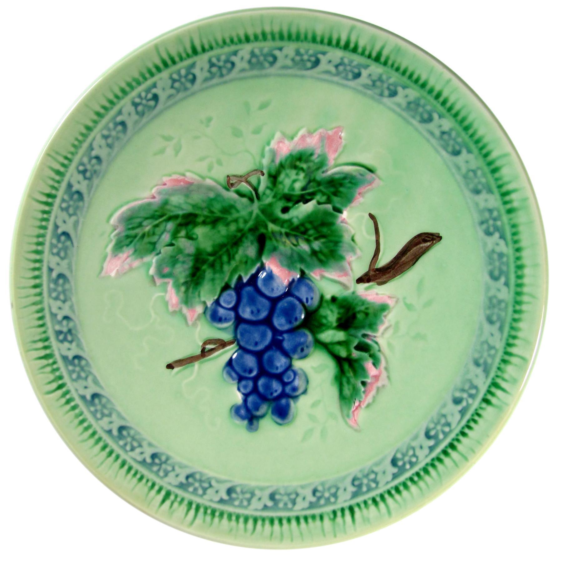 Vintage W. German Majolica Plate Grape Motif