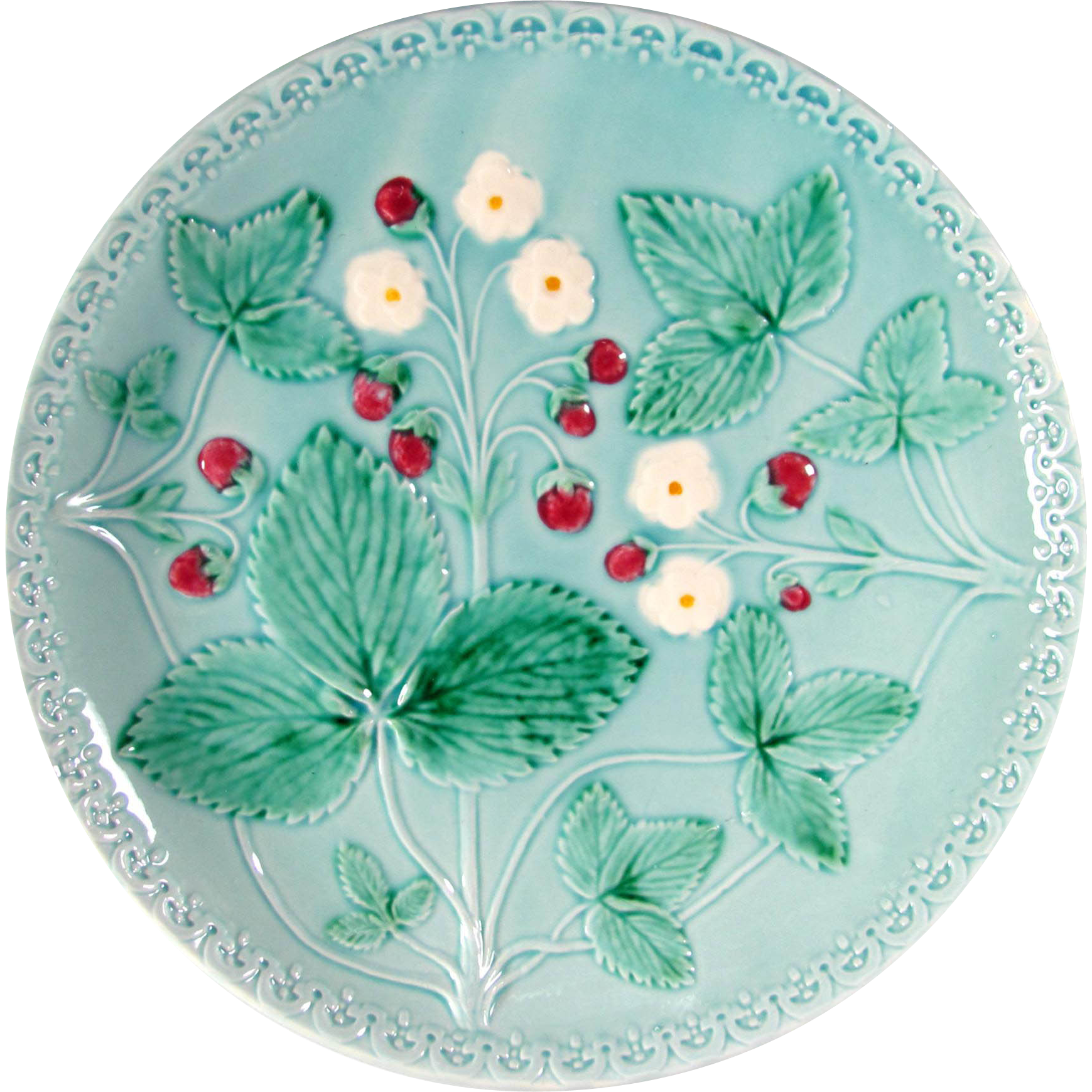 Vintage W. German Majolica Plate, Strawberry Motif on Blue