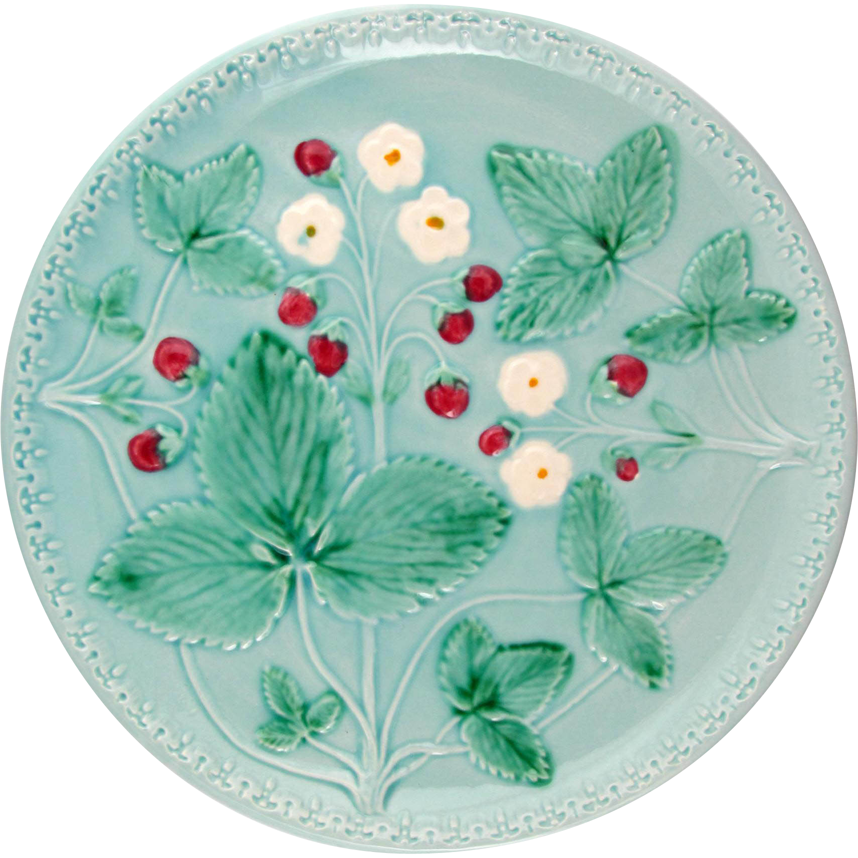 Charming Vintage W. Germany Majolica Plate, Floral & Strawberry Motif on Blue