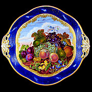 Antique French Sevres Porcelain Tray, Gilt & Blue Lapis Border, Hand Painted Fruit Still Life
