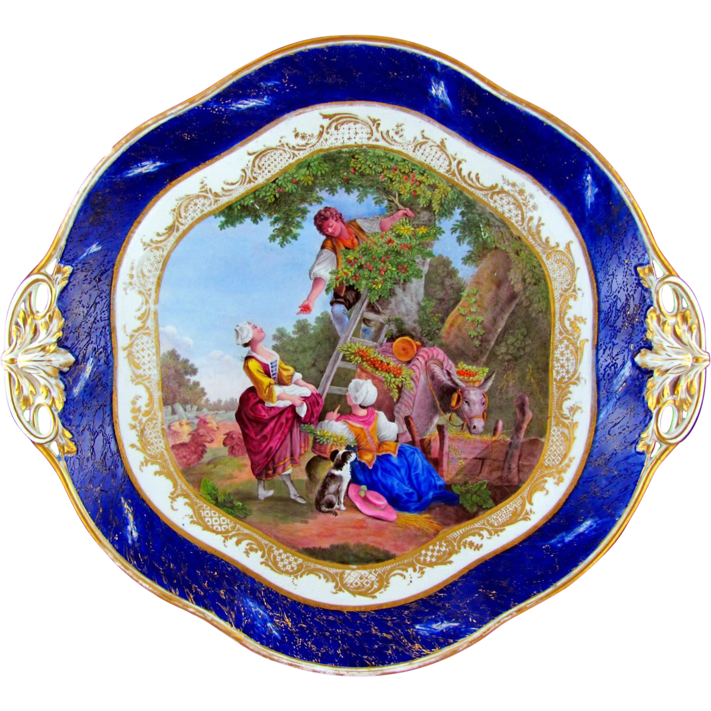 Antique French Sevres Porcelain Tray, Gilt & Blue Lapis Border, Hand Painted Pastoral Scene