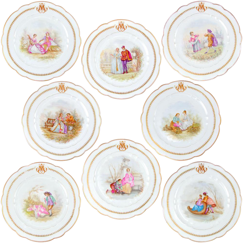 """8 Antique 19thc French Sevres Porcelain Hand Painted Scenic 10"""" Plates Set"""