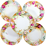 "Signed Antique French Limoges Porcelain Hand Painted Roses & Raised Gold Encrusted 10 1/2"" Dinner Plates Set"