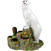 Rare Art Deco French Gabriel Fourmaintraux Desvres Faience Figural Polar Bear Inkwell / Inkstand