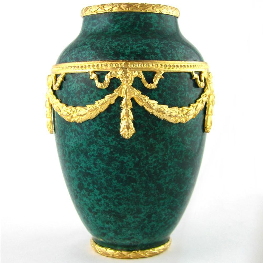 French Paul Milet for Sevres Porcelain Cabinet Vase, Malachite Green, Empire Style Gilt Bronze Mounts