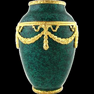 French Paul Milet for Sevres Porcelain Cabinet Vase, Malachite Green, Empire Style Gilt Bronze Mounts
