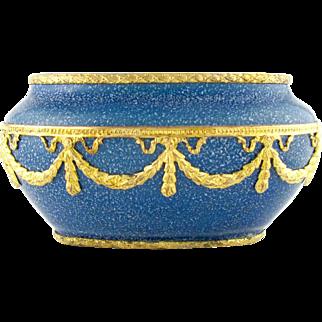 French Paul Milet for Sevres Porcelain Cabinet Vase, Blue Speckled Glaze, Empire Style Gilt Bronze Mounts