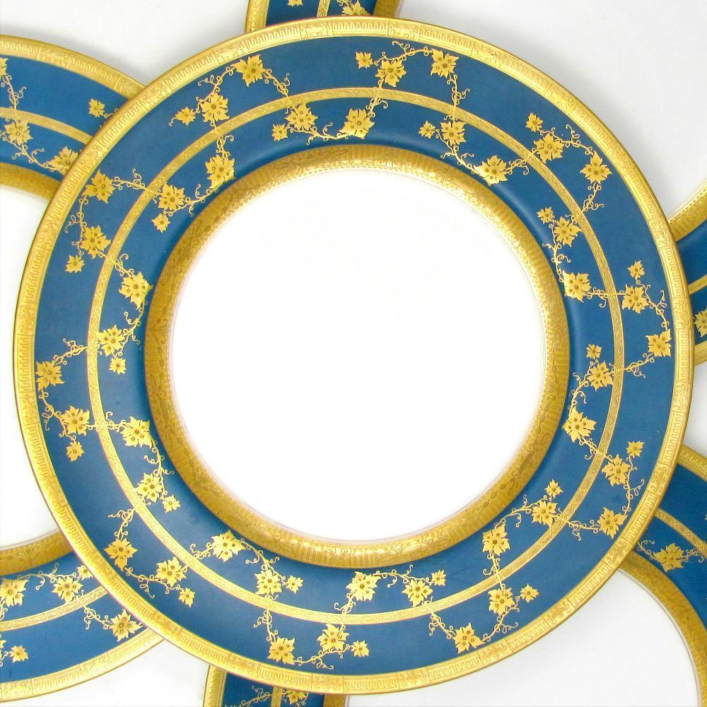 Royal Worcester English Porcelain Gold Encrusted Raised Gilt Enamel Blue Dinner / Service Plates Set