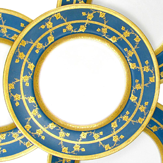 Royal Worcester English Porcelain Gold Encrusted Raised Gilt Enamel Blue Dinner / Service Plates Set