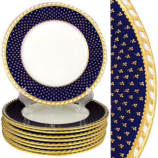 Set of English Minton for Tiffany Gold Gilded Cobalt Blue Porcelain Dinner / Service Plates