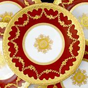 Antique French Limoges Porcelain Ovington Raised Gilt Enamel, Gold Encrusted, Red Plates Set, Tressemann & Vogt