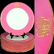 Antique Spode Copeland Porcelain Raised Gold Enamel Pink Dinner Plates Set, Ovington Brothers