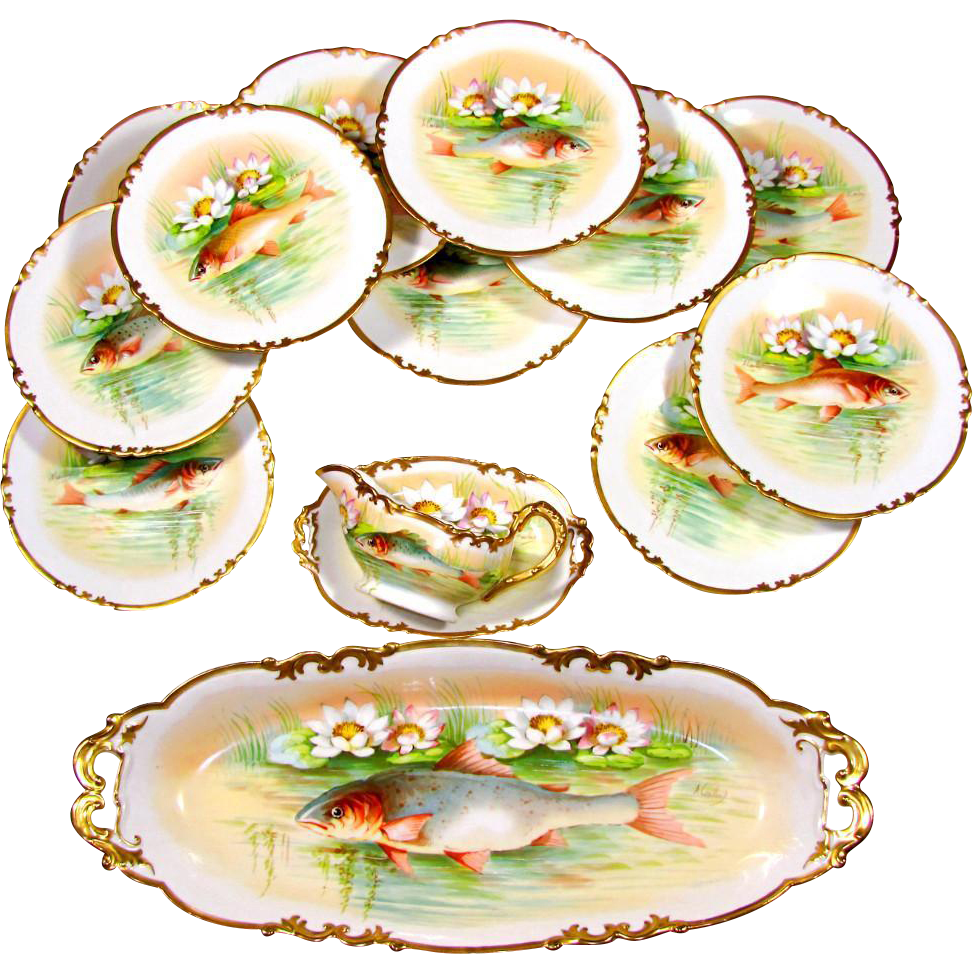 14pc Antique French Limoges Porcelain Signed Hand Painted Fish Service Set, Plates, Platter & Gravy Boat