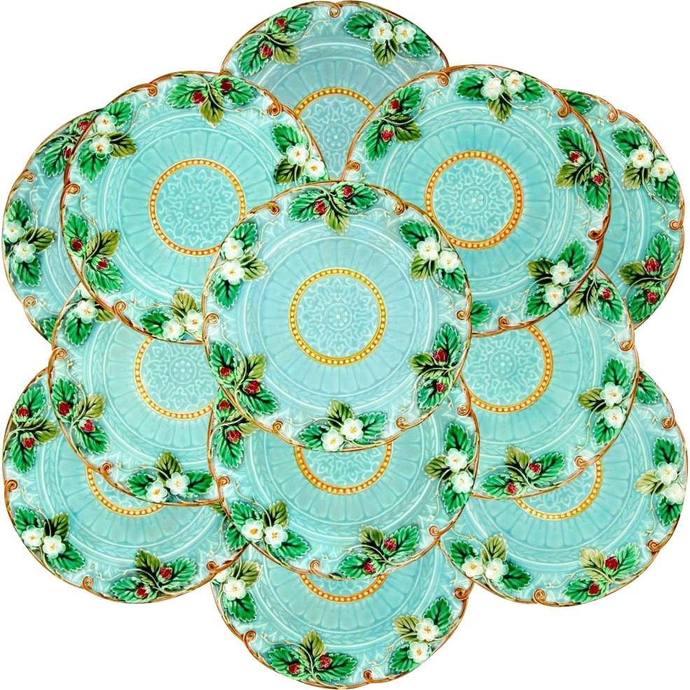 12 Antique French Sarreguemines Majolica Pottery Dessert Plates Set, Strawberries Pattern on Blue