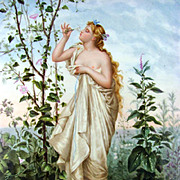 Signed Art Nouveau French Hand Painted Porcelain Portrait Plaque, Painting of a Semi Nude Maiden in a Garden