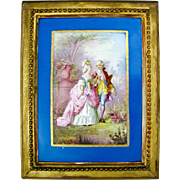 Antique French Hand Painted Porcelain Portrait Plaque Romantic Couple, Celeste Blue, Deforge Carpentier Gilt Frame