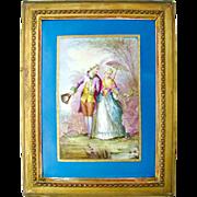 Antique French Hand Painted Porcelain Portrait Plaque Courting Couple, Celeste Blue, Deforge Carpentier Gilt Frame